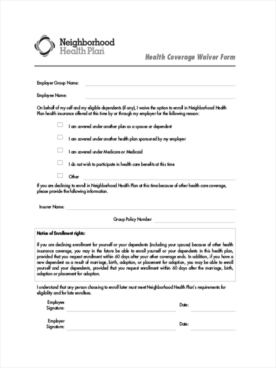 health coverage waiver