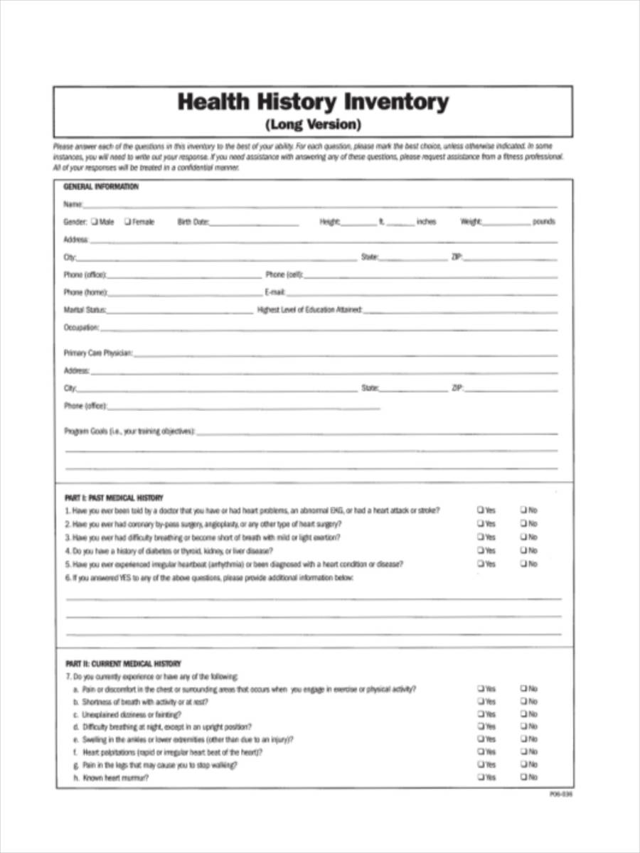 health history inventory form