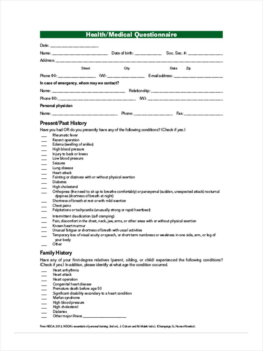 health medical questionnaire