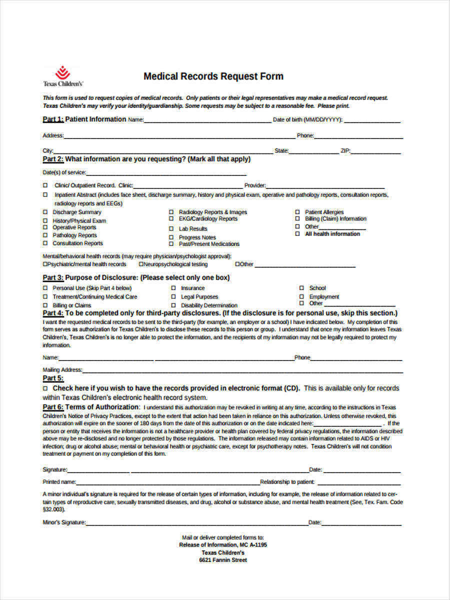 9 Health Record Form Samples Free Sample Example Format Download