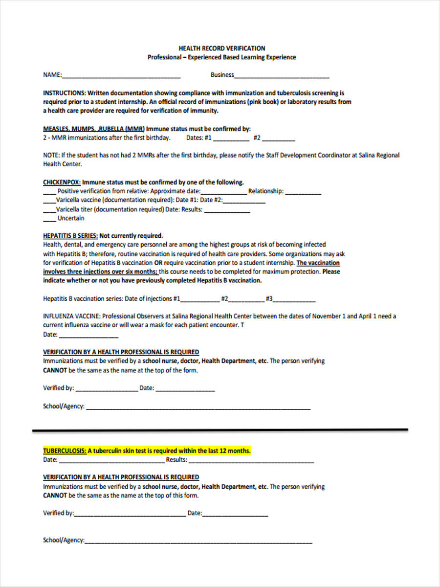 free 8  health record forms samples  examples  formats