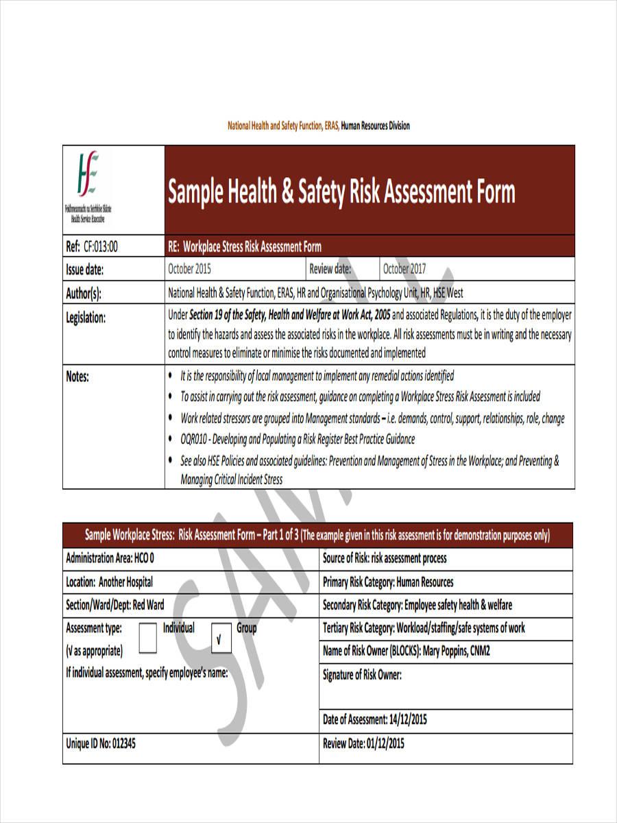 health safety risk assessment