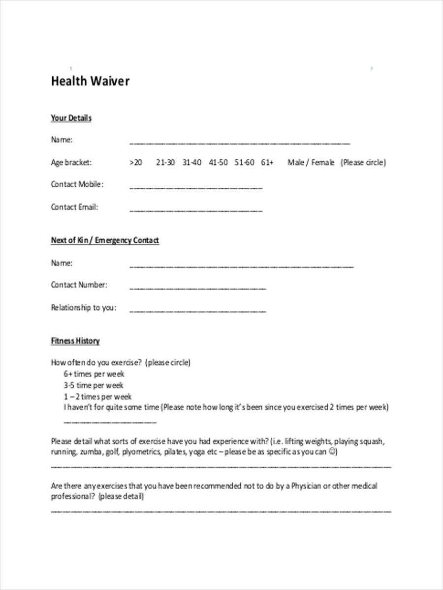 health safety waiver in pdf