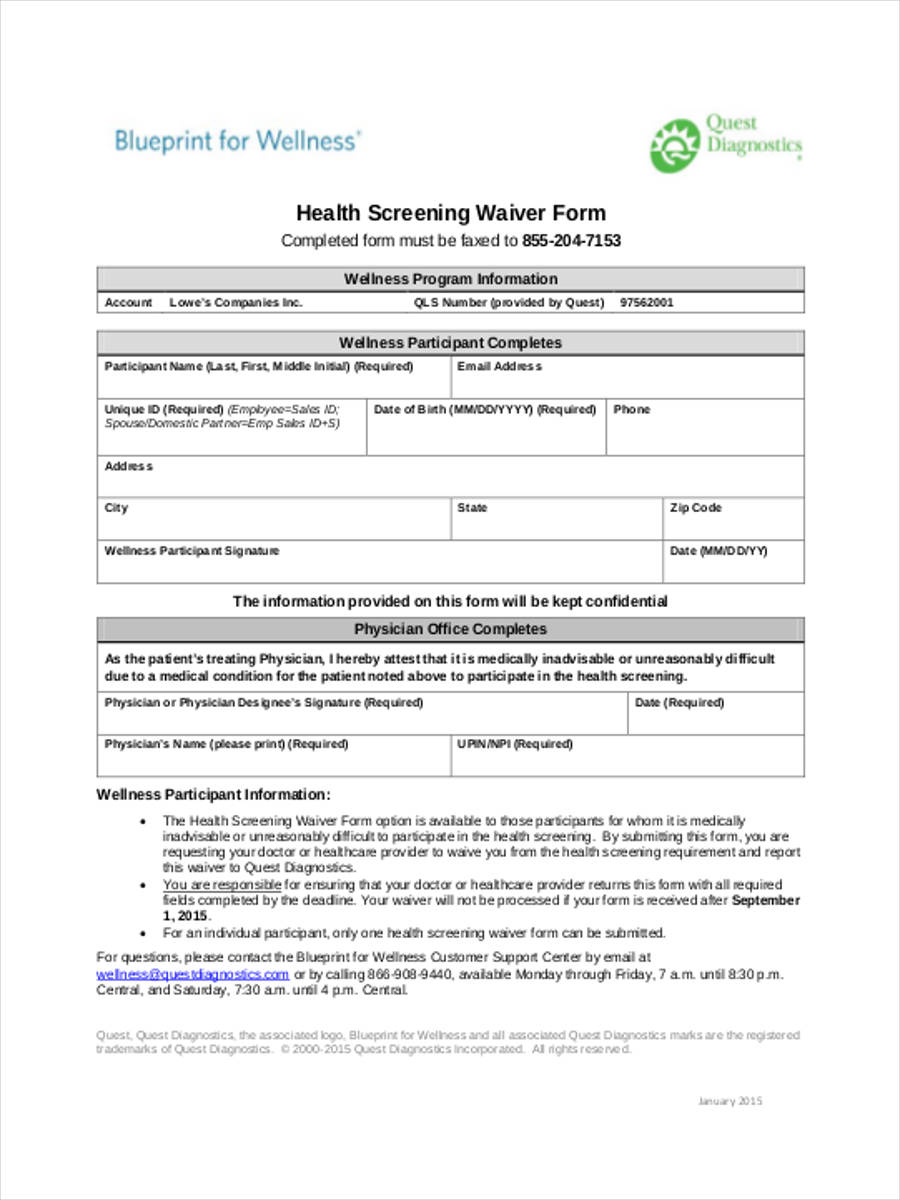 health screening waiver