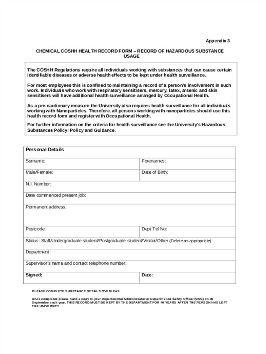 health surveillance record form