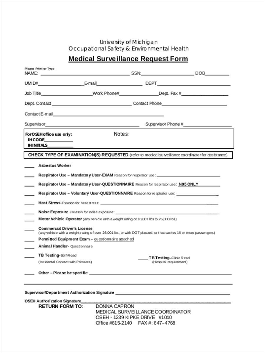 health surveillance request form