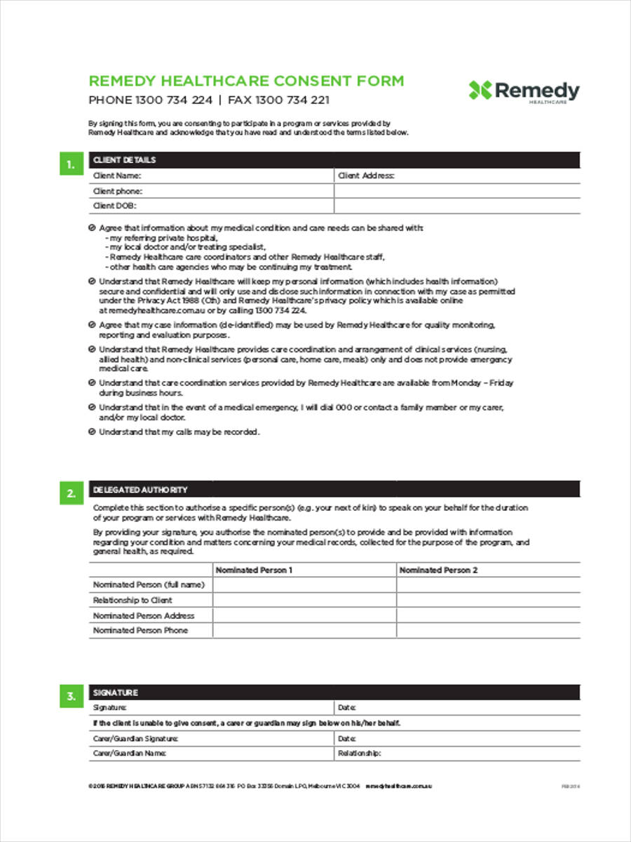 healthcare consent form