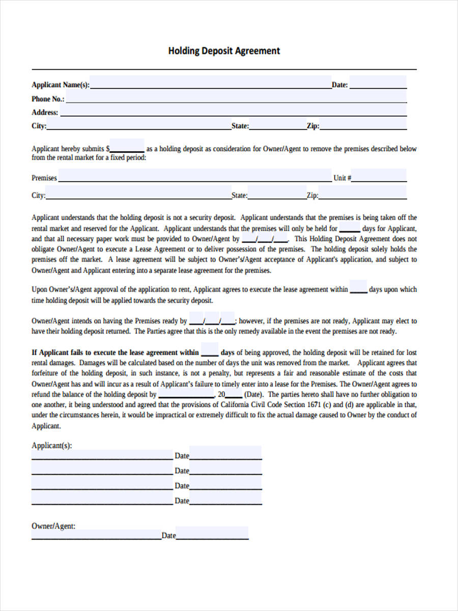 holding deposit agreement form