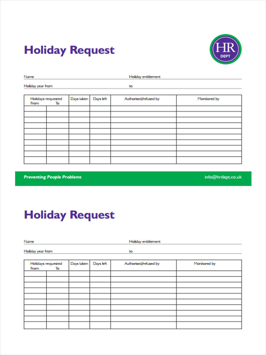 50 Sample Employee Request Forms – Holiday Request Form