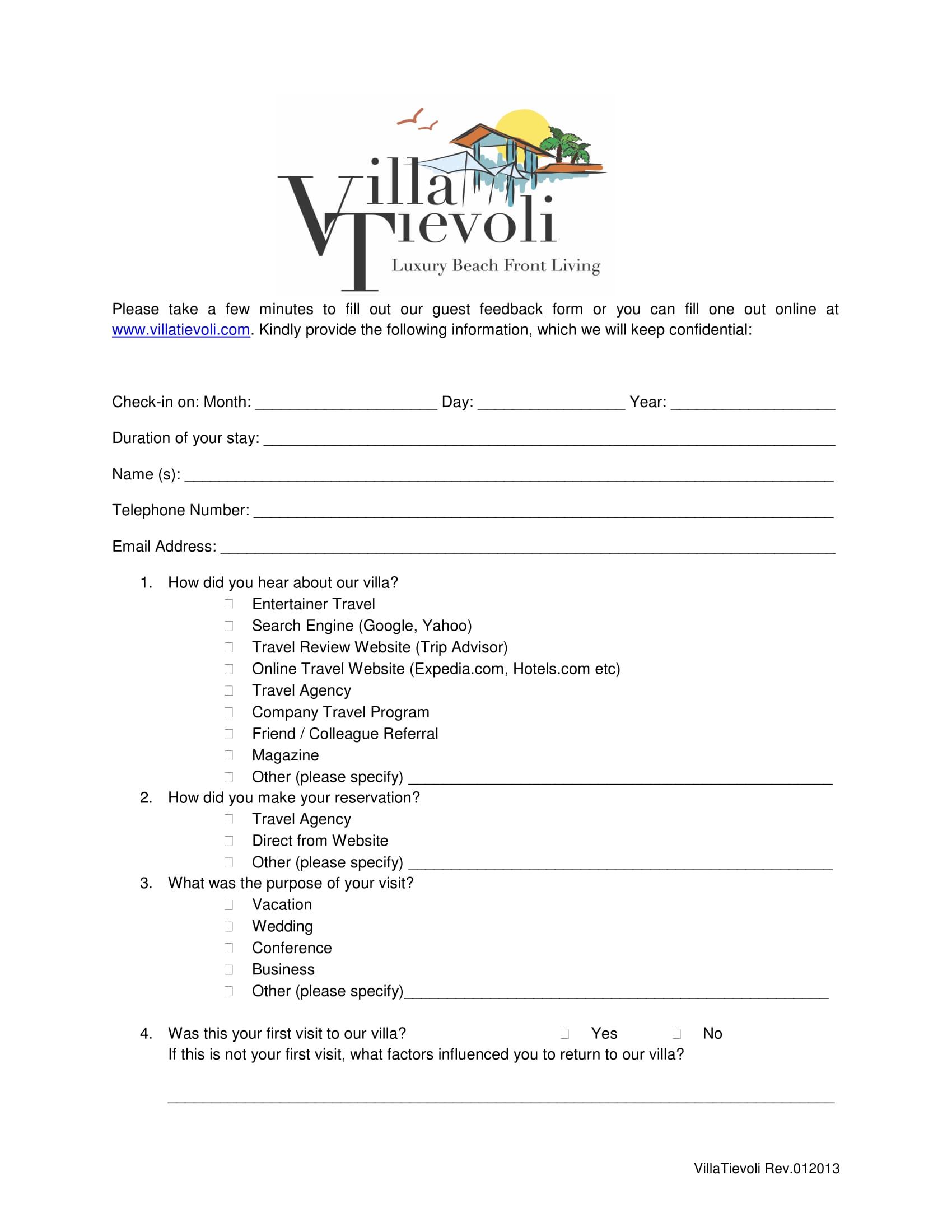 hotel guest feedback form 1
