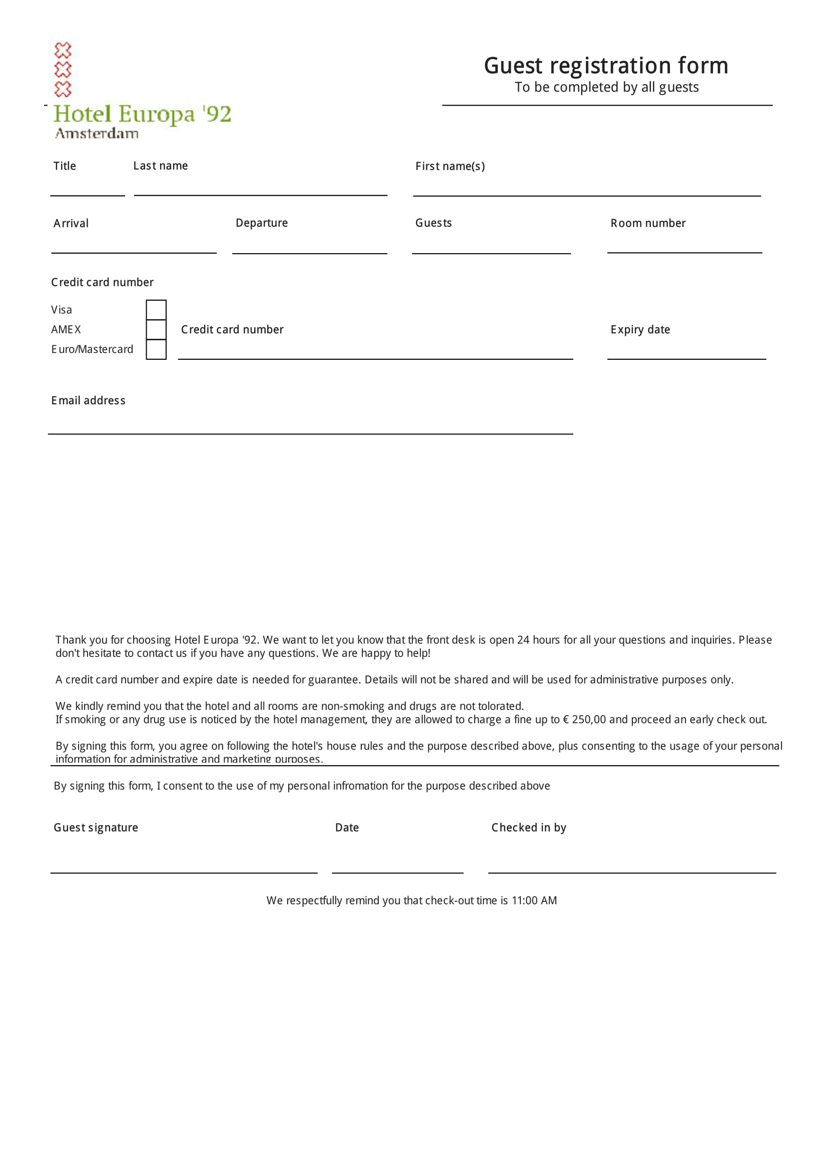 8 registration forms patient registration form hotel. Black Bedroom Furniture Sets. Home Design Ideas
