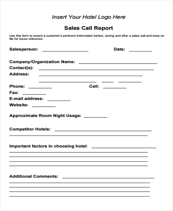 hotel sales call report form