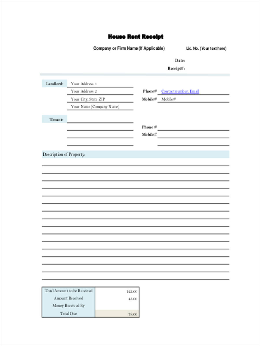 6 Rent Receipt Forms Free Sample Example Format Download – Rental Receipt Form