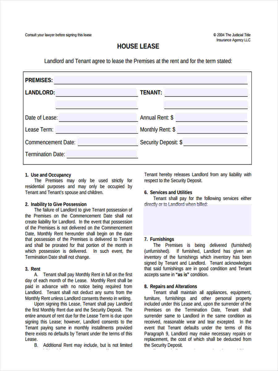 housing lease agreement