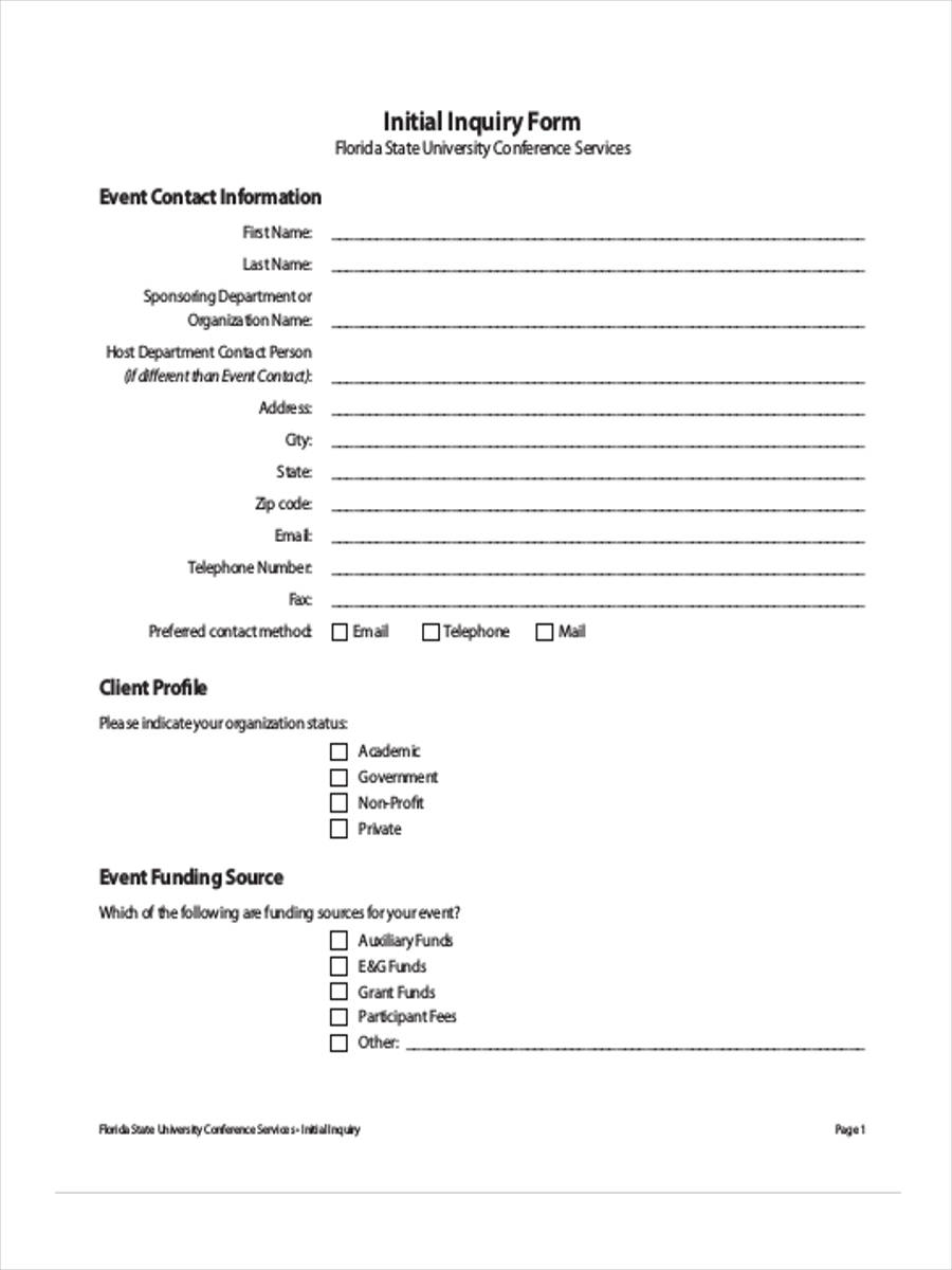 initial inquiry form