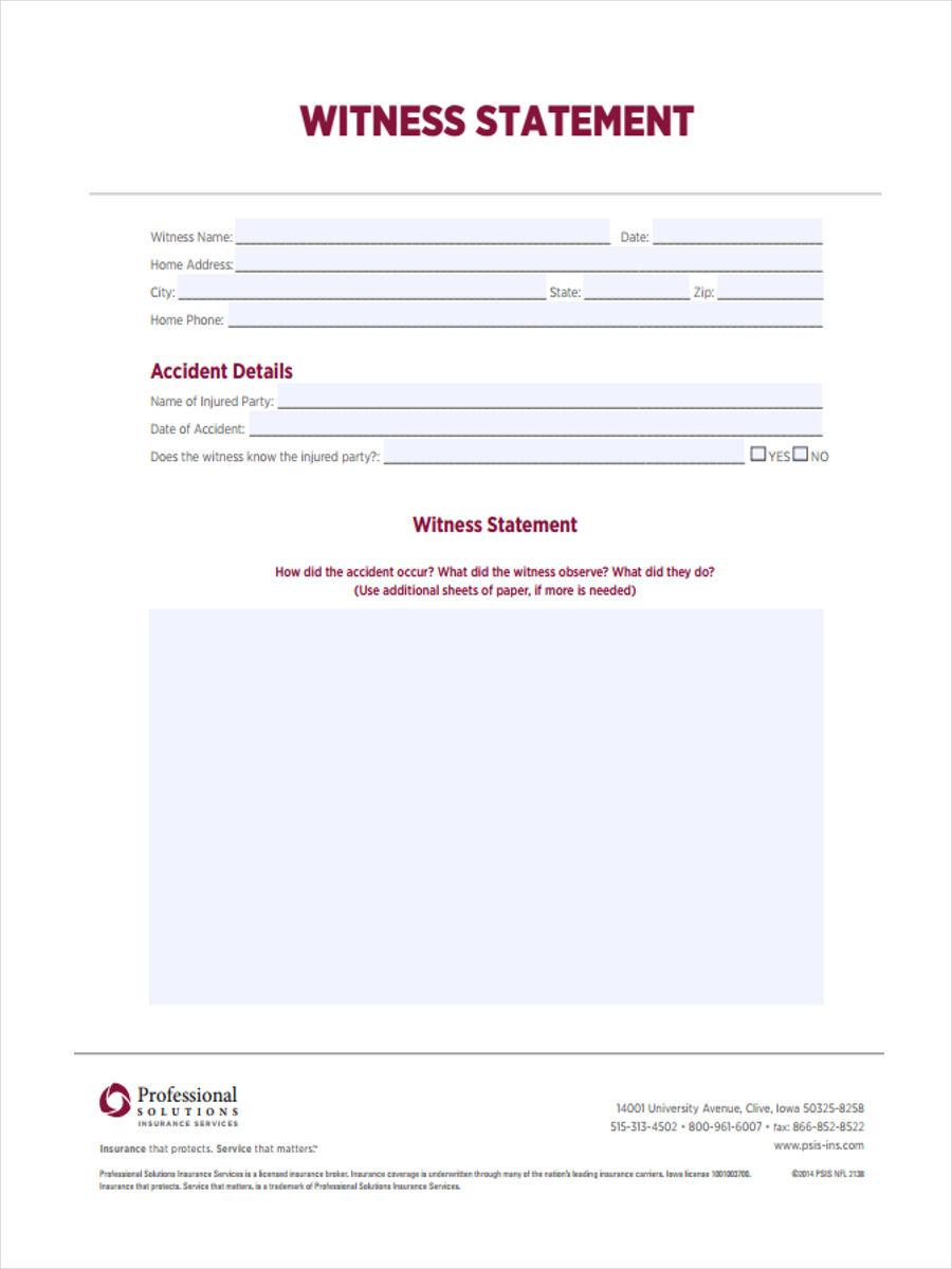 insurance witness statement