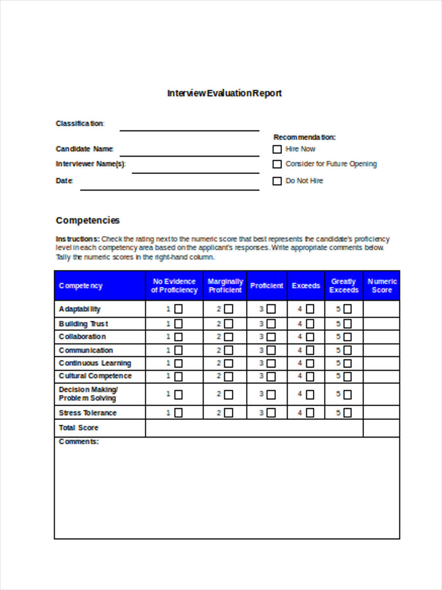 interview evaluation report