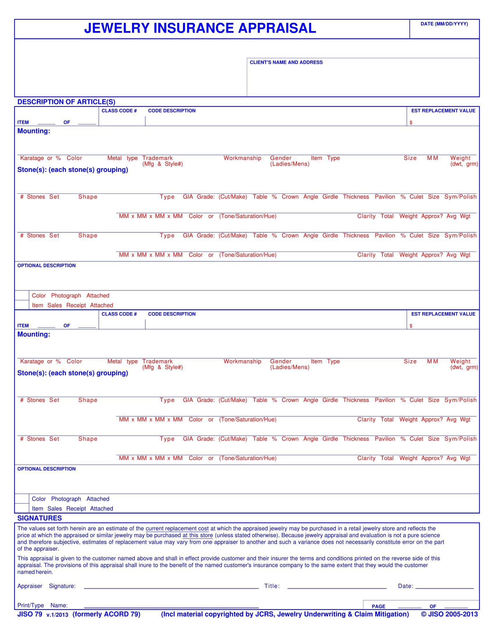 jewelry appraisal form 1