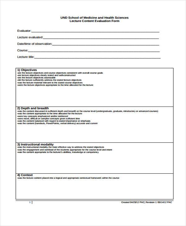 lecture content evaluation form