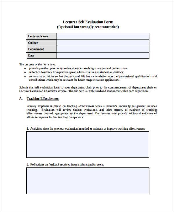 lecture self evaluation form