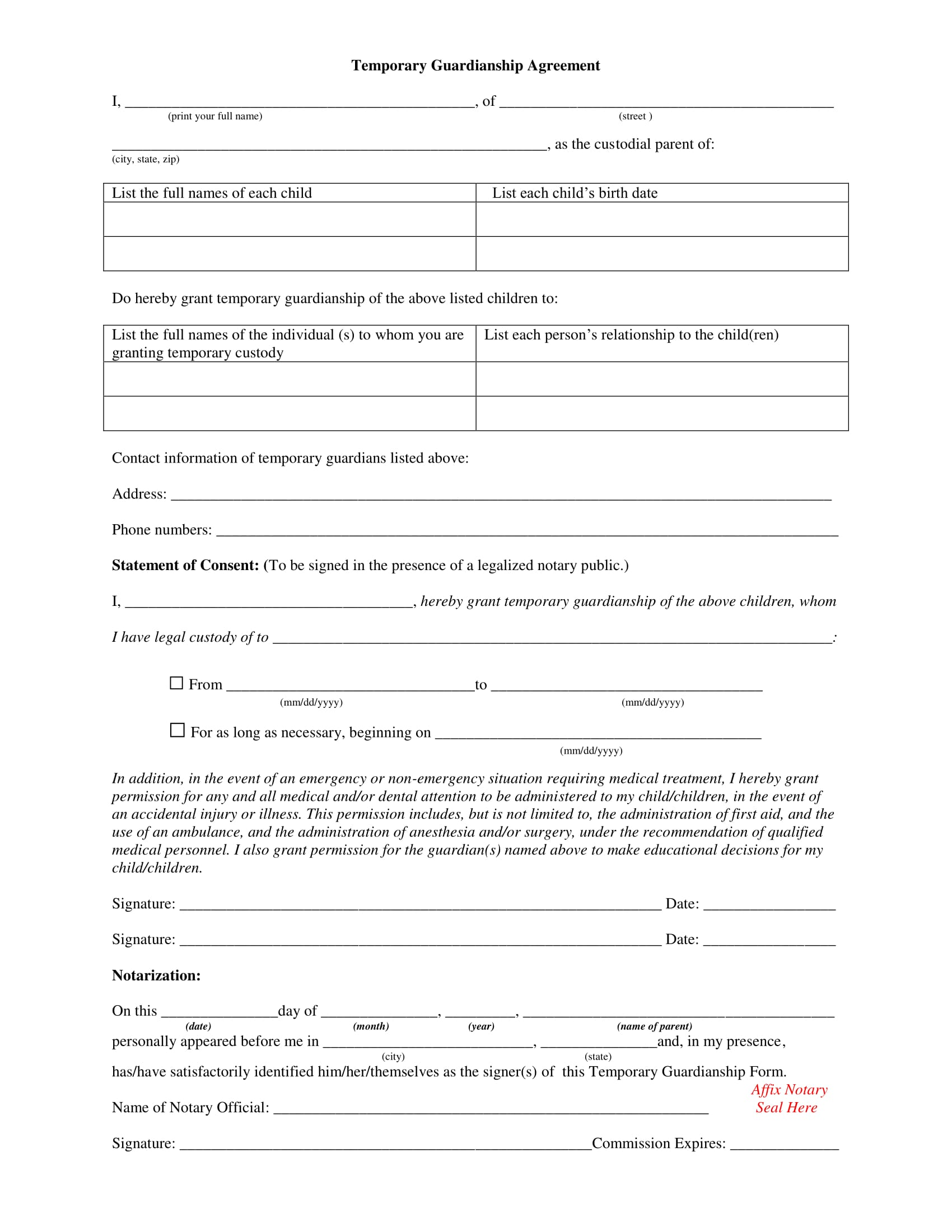 photograph about Printable Temporary Guardianship Forms known as 4 Illustrations of Non permanent Guardianship Sorts and At the time towards Employ the service of Them