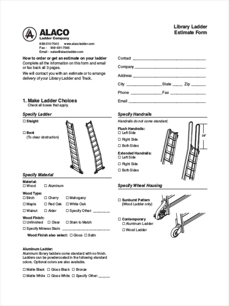 library ladder estimate