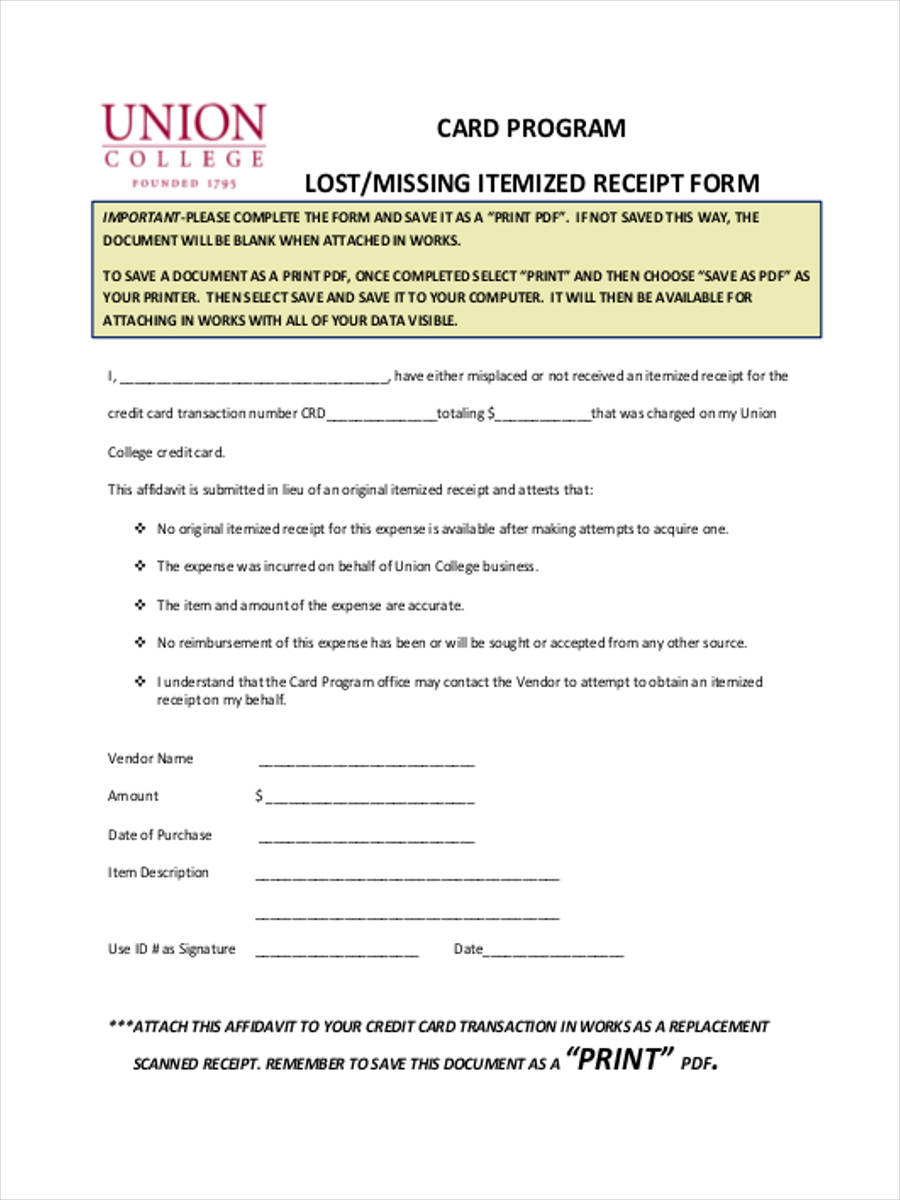 lost receipt forms 6 free documents in word pdf