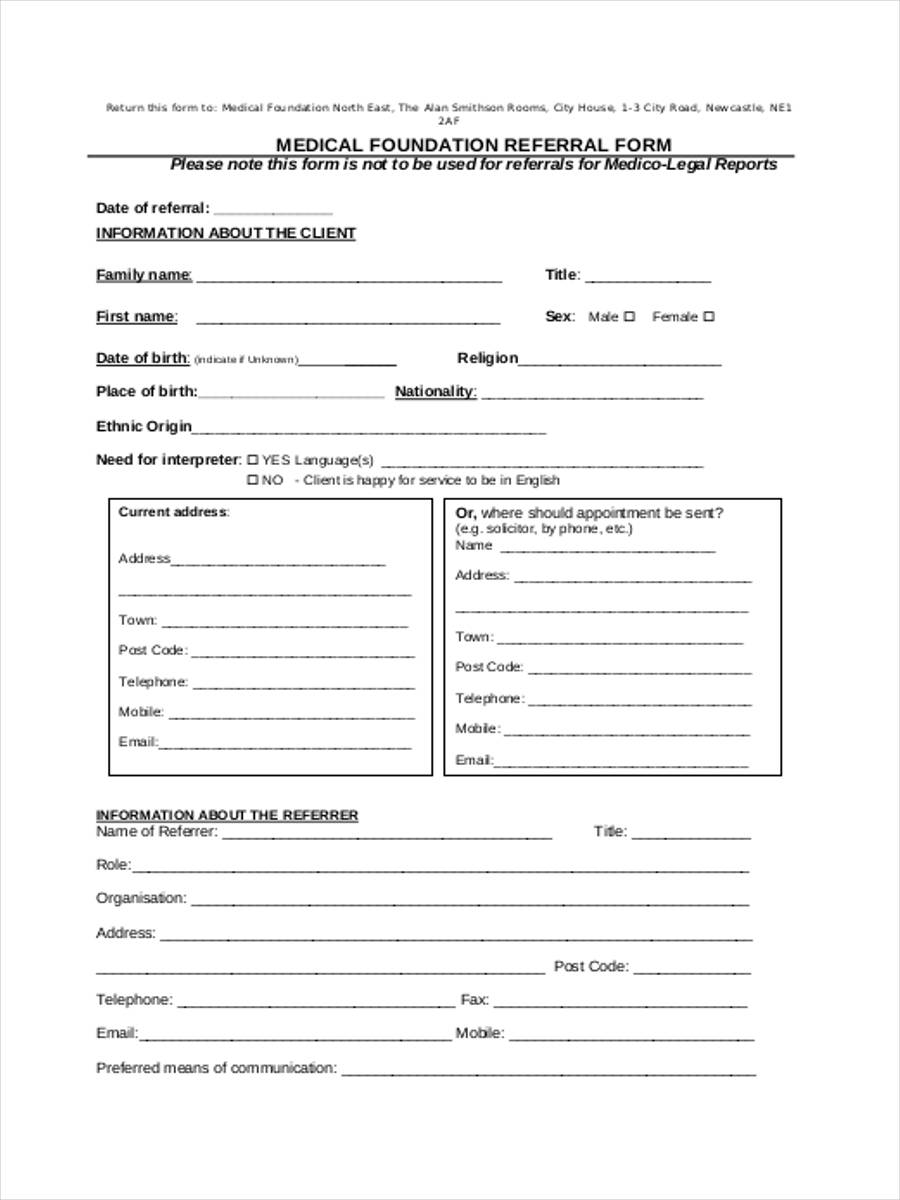 medical foundation referral form