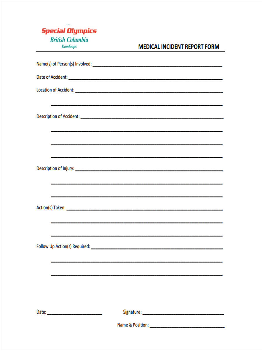 medical incident report form