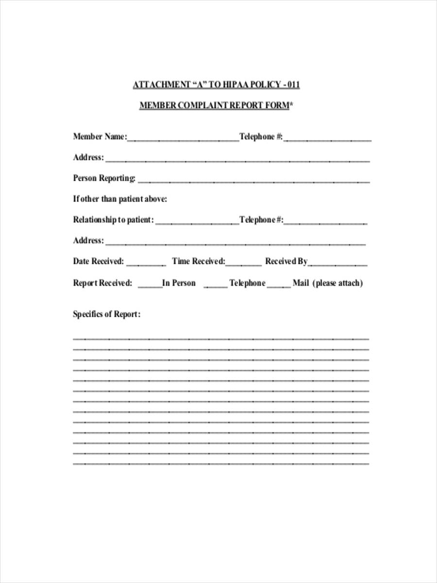 member complaint report form