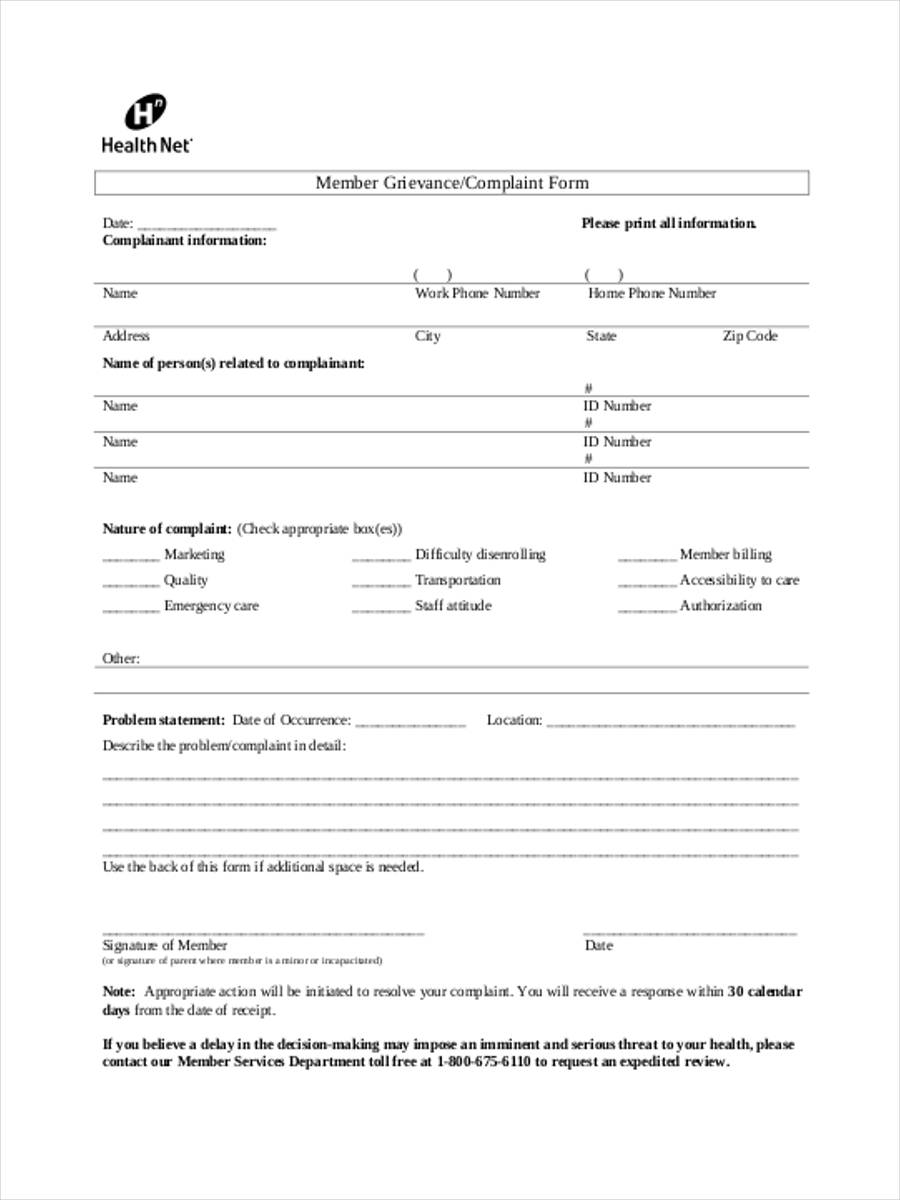 member grievance form