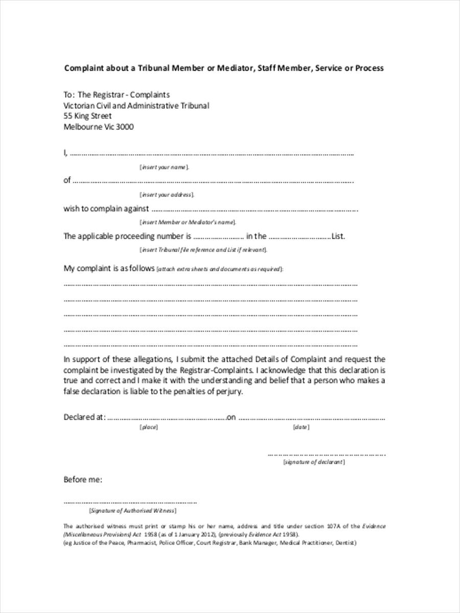 member mediation complaint