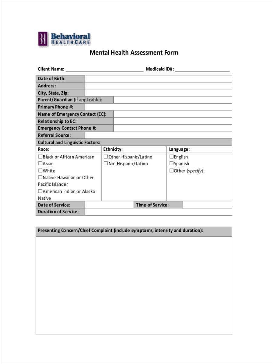 8 Mental Health Form Samples - Free Sample, Example Format