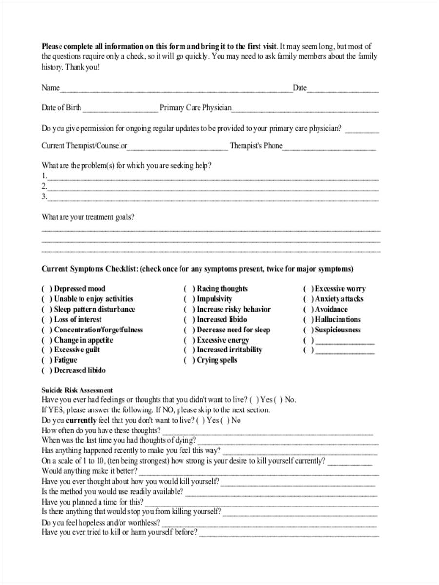 8 Mental Health Assessment Form Samples - Free Sample, Example ...