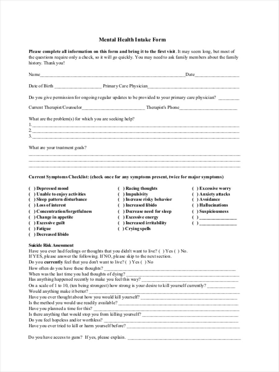 assessment intake form 11 free documents in word  pdf