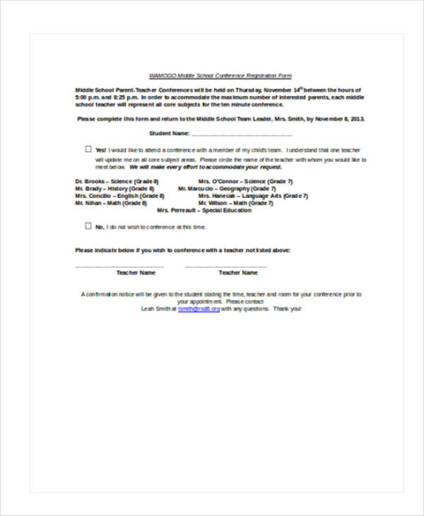 middle school conference registration form1