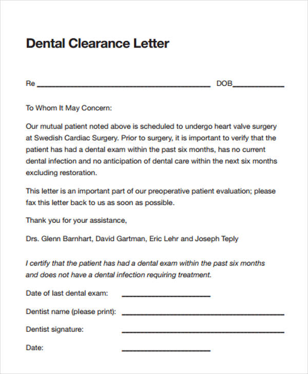 dental clearance letter for surgery 32  Clearance Forms in PDF