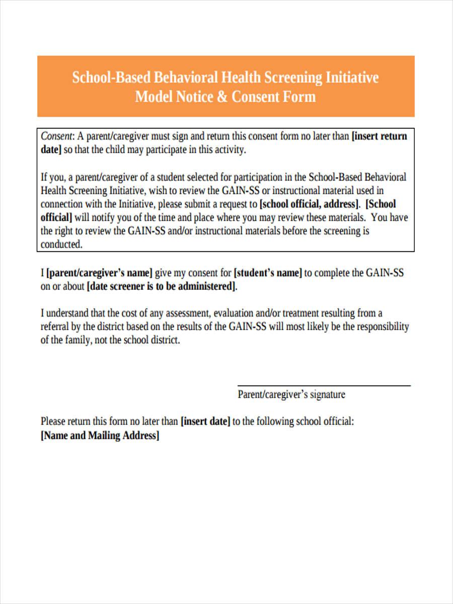 model notice consent