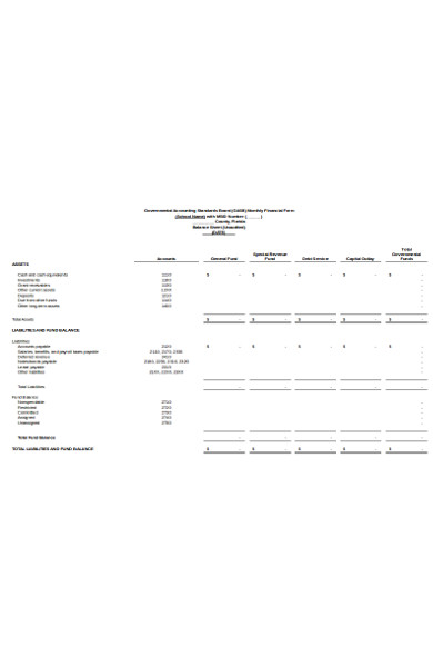 monthly financial form