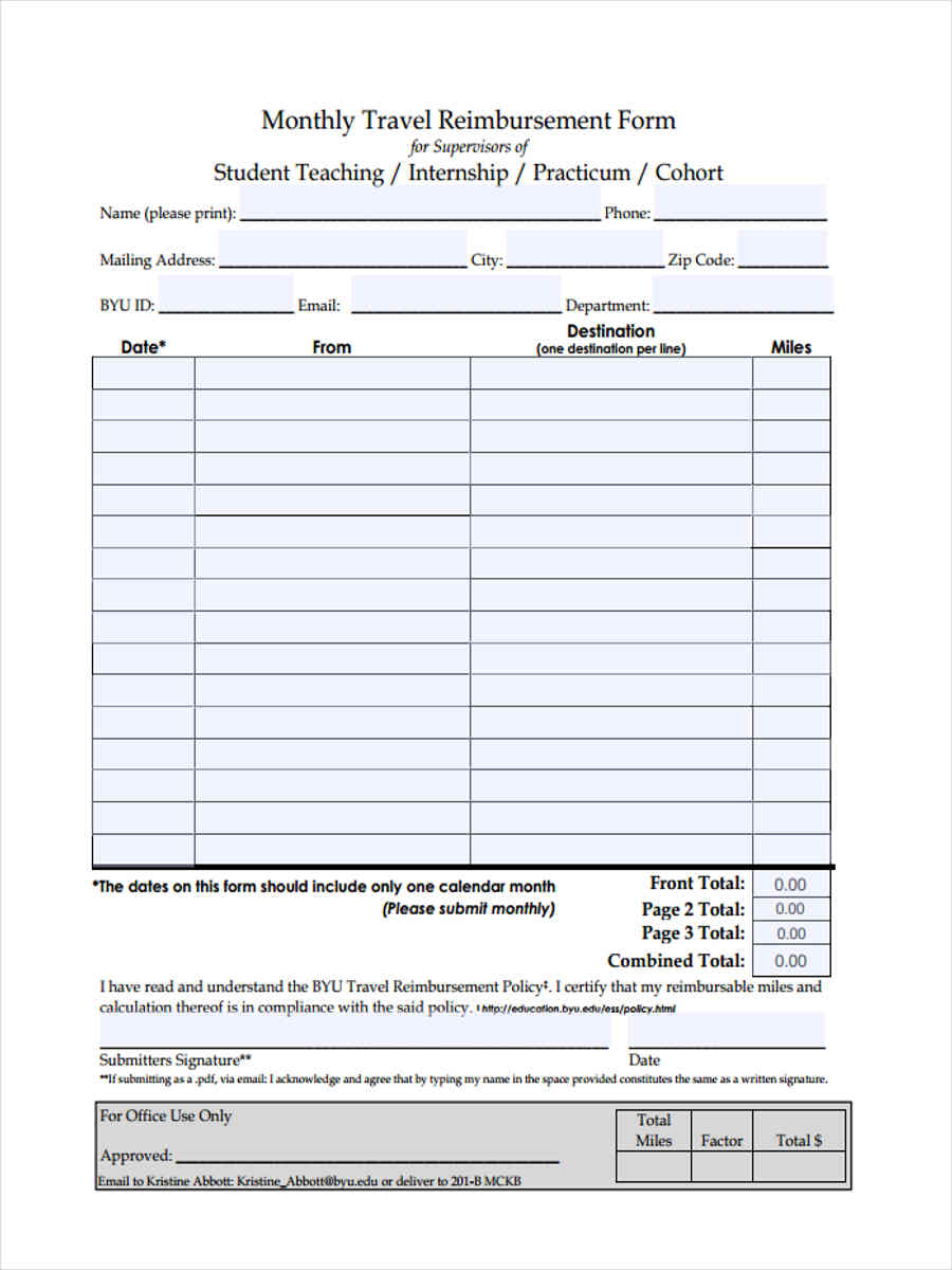 Travel Reimbursement Form - 7 Free Documents in Word, PDF