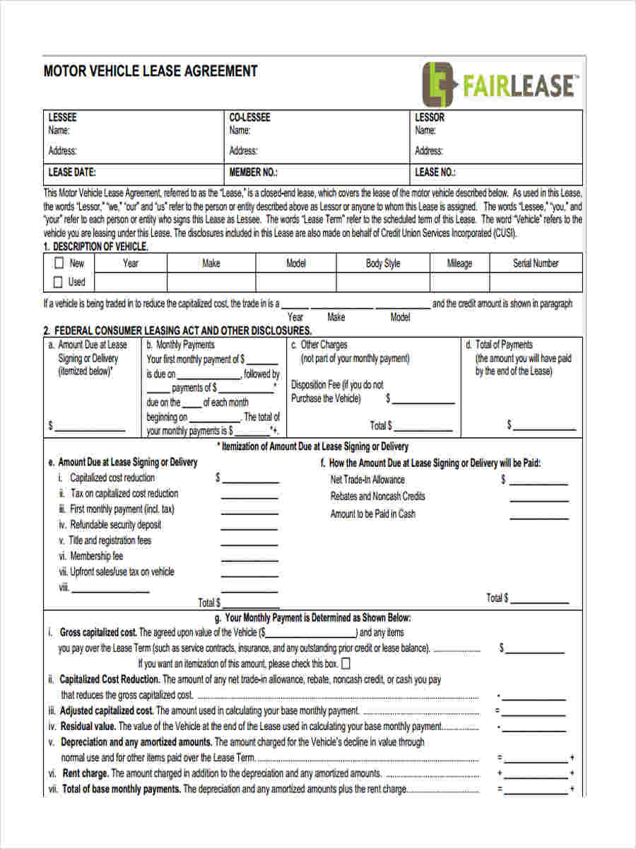 29 free lease form for Motor vehicle lease agreement template