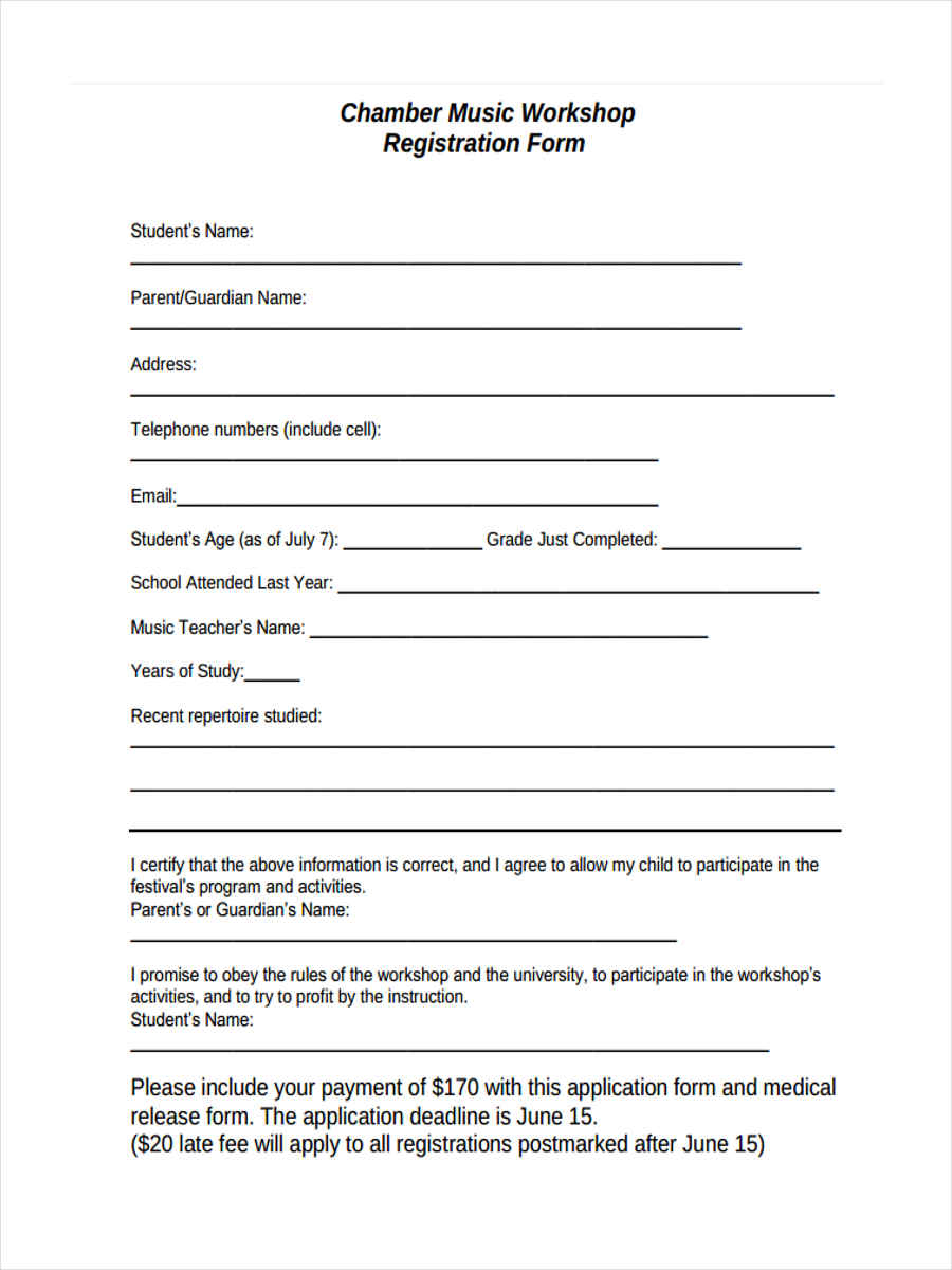 registration forms pdf – Student Registration Form Template