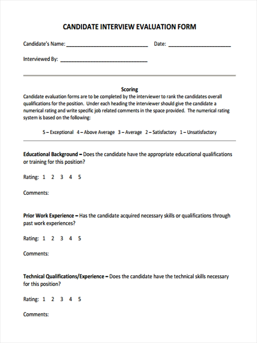 new employee interview form
