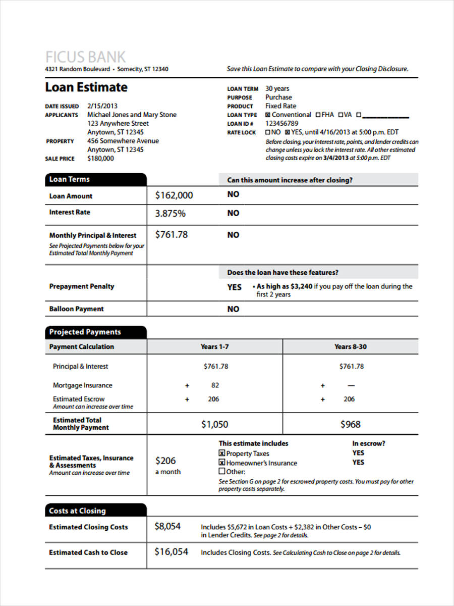 Charming New Loan Estimate Form