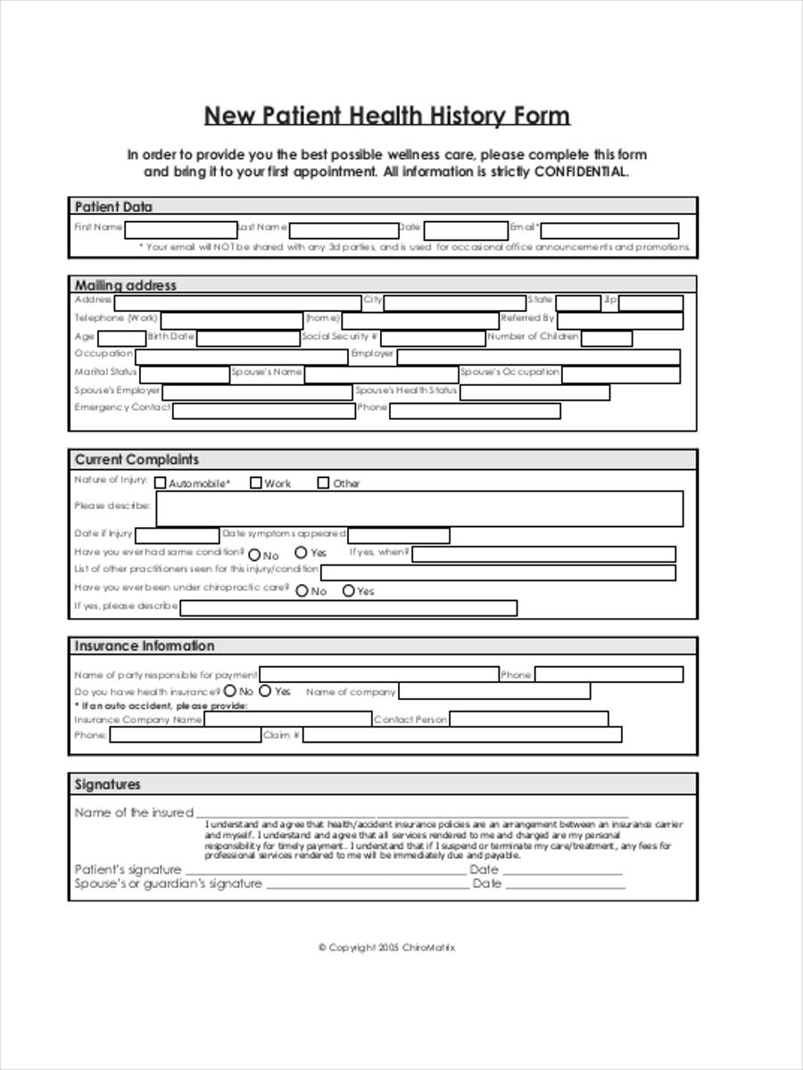 8 health history forms samples free sample example format download