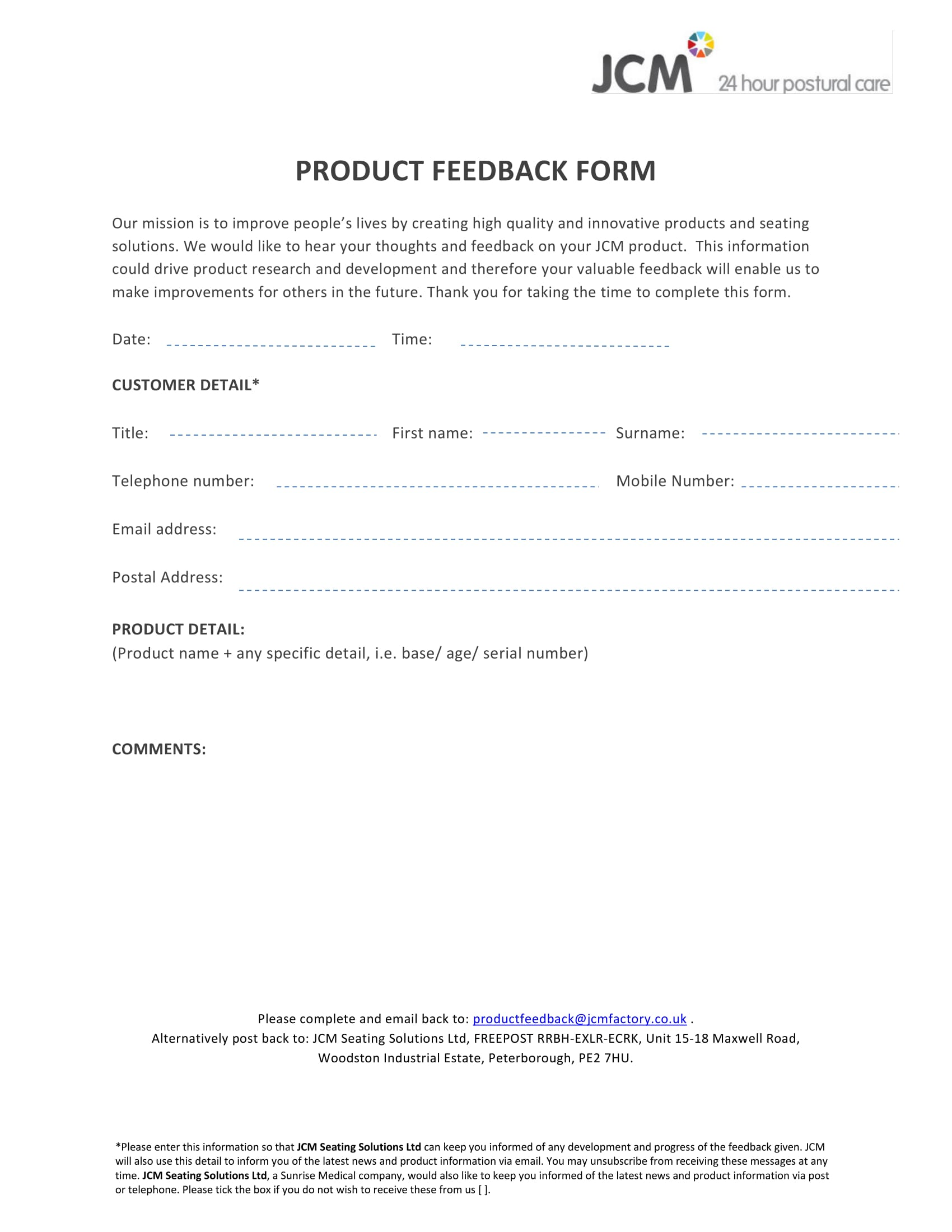 new product feedback form 1