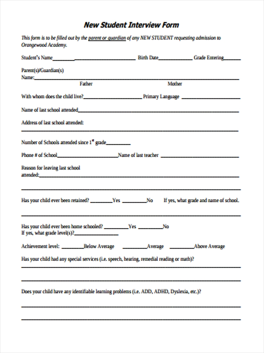 new student interview form
