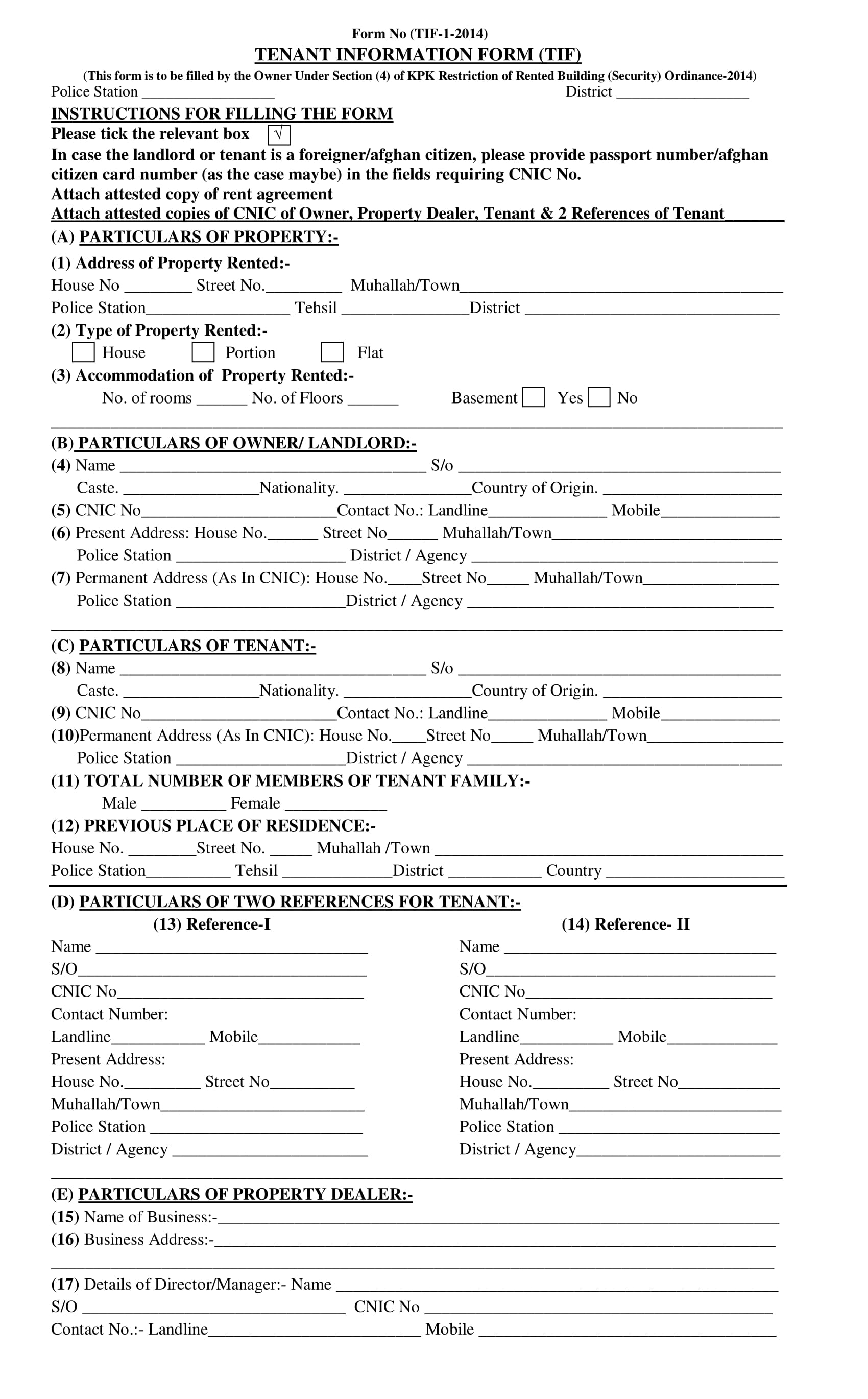new tenant information form 1