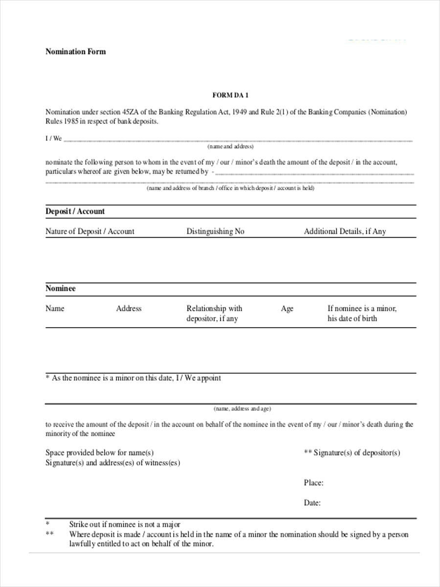 nomination deposit form