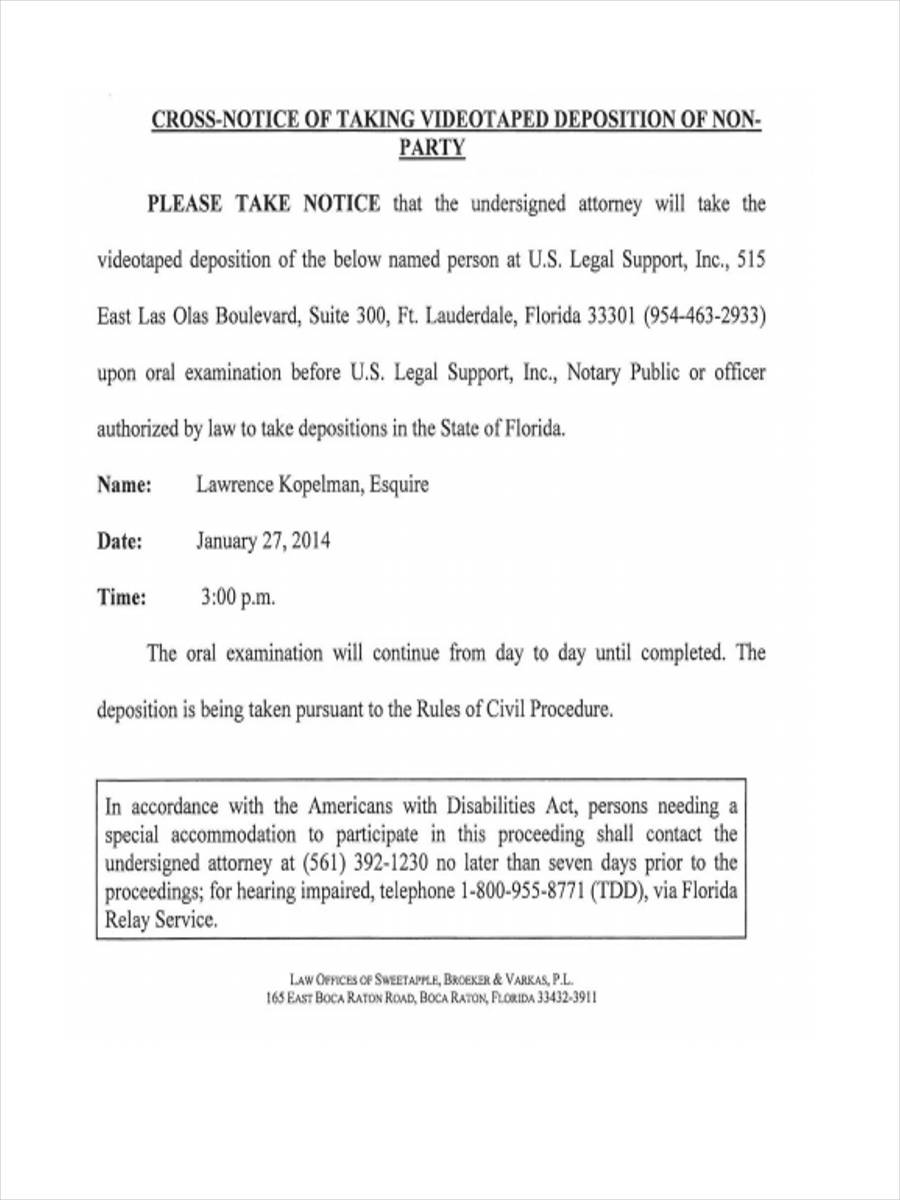 notice of video deposition